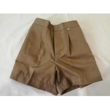กางเกงนักเรียนขาสั้นสีกากีเอวยืดหลัง